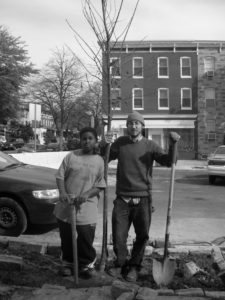 Eric and Allen planting a tree on Huntingdon Ave.